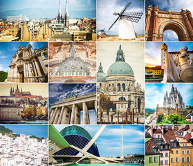 photo collage of architecture of ancient cities