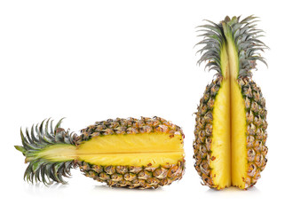 ripe pineapples isolated on white