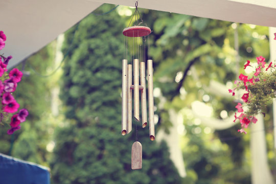 Silver and wood wind chimes