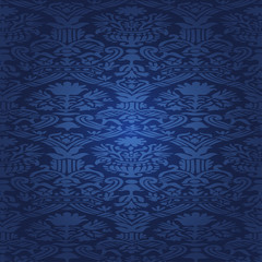Blue seamless pattern floral background