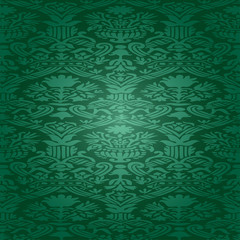 Green seamless pattern floral background