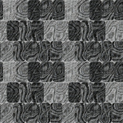 Seamless black and white pattern of rectangles with wavy pattern