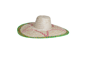 Straw hat isolated on white.Side veiw.