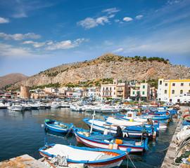 View of Mondello port in Palermo, Sicily. Italy.
