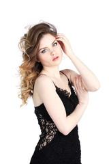 Beautiful girl in little black dress
