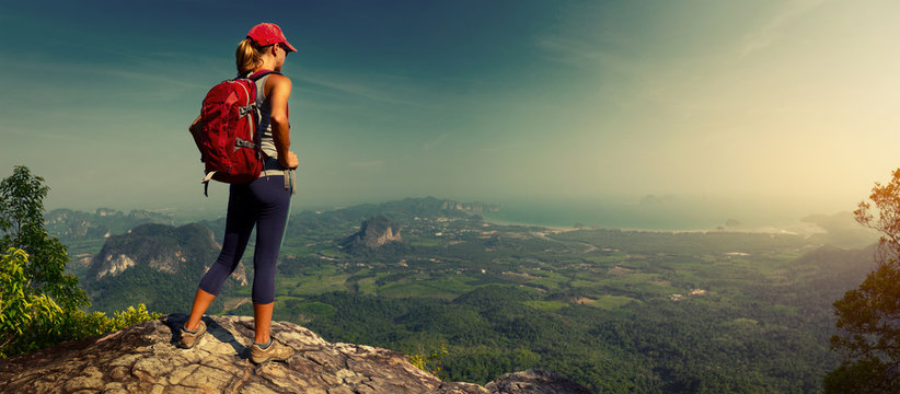 Lady hiker on the mountain