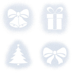 Snow mark of christmas objects on white set