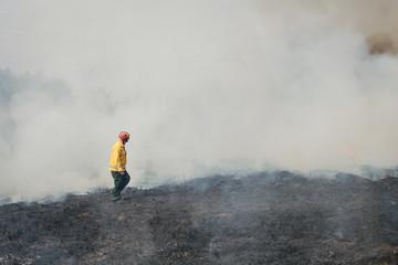 Fire fighter crossing charred terrain