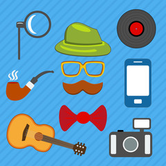 Hipster web and mobile icons set. Vector.