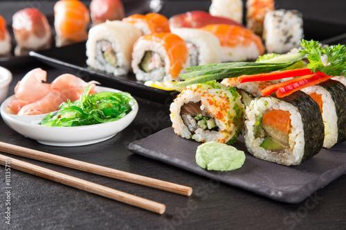 japanese seafood sushi set stockfotos und lizenzfreie bilder auf bild 81135711. Black Bedroom Furniture Sets. Home Design Ideas