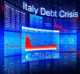 Italy Debt Crisis Economic Stock Market Banking Concept