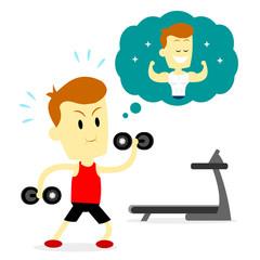 Man Doing  a Workout Routine to Make a Good Shape