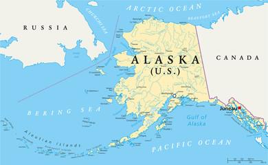 Alaska Political Map Wall mural