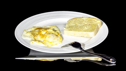 Simple eggs and toast on a plate