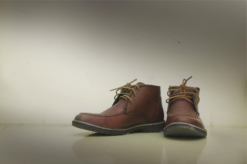 Pair of old brown working boots