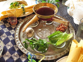 Jewish Holidays: Traditional Seder Plate on Passover Table