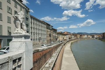 Fototapete - Arno River in Pisa, Tuscany, Italy