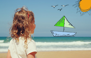 back view of cute girl imagine boat, birds and sun with set of i