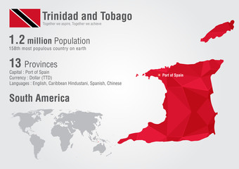 Wall Mural - Trinidad and Tobago world map with a pixel diamond texture.