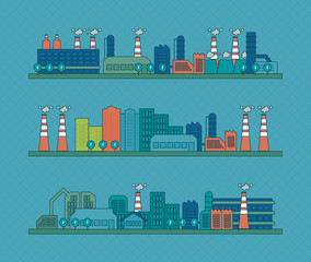 Flat design vector concept illustration with icons of urban
