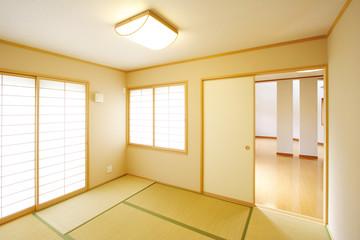 和室と奥に見える LDKイメージ  シンプル家具なし 施工例