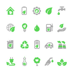 Ecology icons set, Green energy
