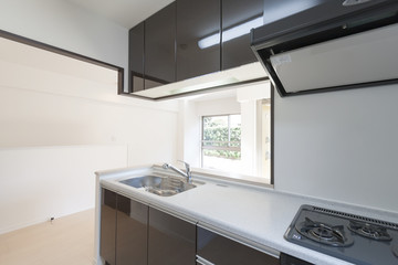対面式キッチン 施工例 シンプル家具 小物なし