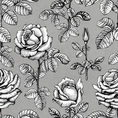Seamless pattern with rose illustrations