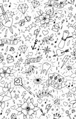 Hand drawn tattoo seamless pattern