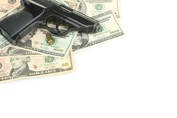 gun and money isolated
