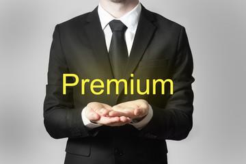 businessman serving gesture hands open premium