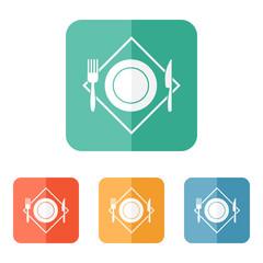 White restaurant menu icon. Plate, fork, knife on napkin