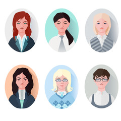 icon set business women in flat style