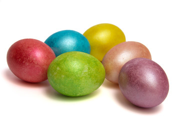 Easter colored eggs  on white bacground