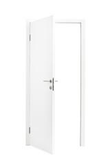 White opened door isolated on white background