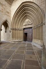 Romanesque portal of Santa Maria de Ujue sanctuary. Navarra, Spa