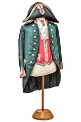 Vintage Napoleon costume isolated on white