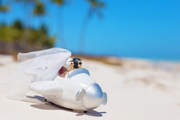 Bride and groom in small wedding plane model on the beach