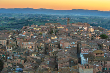 aerial panorama of the Tuscan medieval town of Siena, Italy