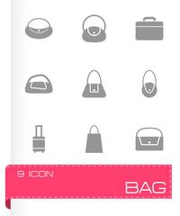 Vector black bag icon set