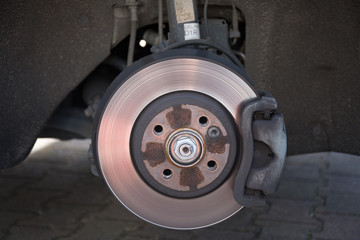 The Brake disk and detail of the wheel assembly