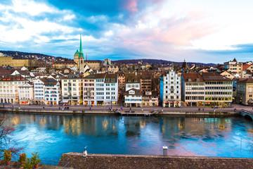 Aerial view of the Old Town in Zurich, Switzerland.