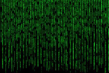 Matrix effect background of falling green computer code