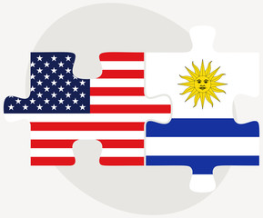 USA and Uruguay Flags in puzzle