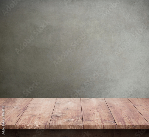 """Wood Table With Concrete Texture Background"" Stock Photo"