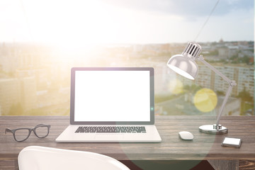 3D illustration laptop on table, Workspace on nature