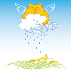 Funny cat with cloud. Series of comic cats