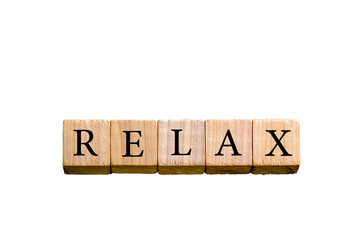 Word RELAX isolated on white background with copy space
