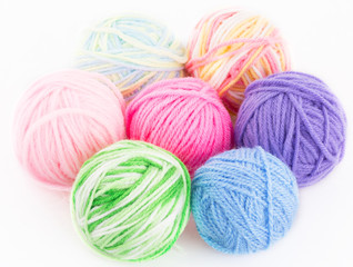 Multi-colored balls of threads for knitting