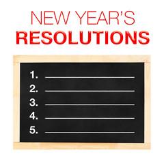 Fototapeta New year 's Resolutions : Goals List on Blackboard with white ba obraz